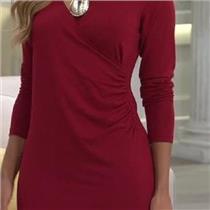Susan Graver Size 1X Garnet Red Dolce Knit Rayon Long Sleeve Faux Wrap Dress