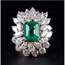 14k White Gold Columbian Emerald & Diamond Cocktail Ring 10.31ctw W/ GIA Origin