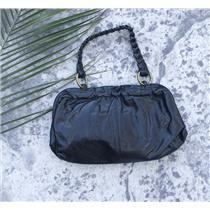 RARE Hobo International Black Leather Frame Clutch Bag Braided Strap Ruffle Edge