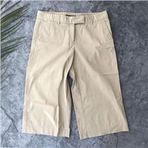 Sz 4 Theory Beige Stretch Crop Pants Tab Waist Gellar/Cool Perfect for Spring!