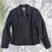 6P Sag Harbor Petite Women's Wool Zip Waist Jacket Black Lined Collared F02077