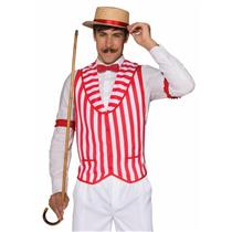 Barber Shop Quartet Red and White Striped Costume Vest Standard Size