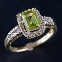 14k Yellow Gold Emerald Cut Peridot Solitaire Ring W/ Diamond Accents 1.21ctw