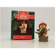 Hallmark Series Ornament 1992 Owliver #1 - Owl & Bunny Reading a Book - #QX4544
