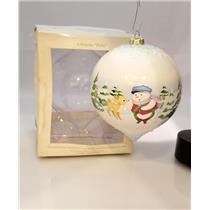 Hallmark Ornament 2008 A Holiday Hello - Snow Buddies Ceramic Ball #LPR3404-DBNT