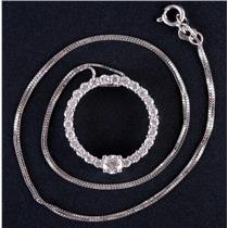 "14k White Gold Round Cut Diamond Circle Style Pendant W/ 18"" Chain .83ctw"