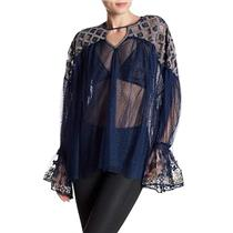 M NEW Free People Joyride Mesh Embroidered Blouse in Navy