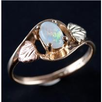 10k Black Hills Gold Tri-Tone Oval Cabochon Cut Opal Solitaire Ring .30ct