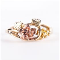 10k Multi-Tone Black Hills Gold Floral / Leaf Style Ring 2.4g Size 5.5
