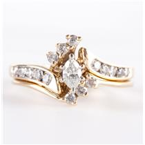 14k Yellow Gold Marquise Cut Diamond Engagement / Wedding Ring Set .51ctw