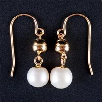 14k Yellow Gold Freshwater Cultured Pearl Solitaire Dangle Earrings 1.8g