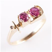 14k Yellow Gold Oval Cut Ruby & Single Cut Diamond Abstract Ring .635ctw