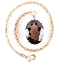 "14k Yellow Gold Oval Cut Smokey Quartz Solitaire Pendant W/ 15"" Chain 16.5ct"