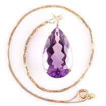 "14k Yellow Gold Pear Cut Amethyst Solitaire Pendant W/ 18"" Chain 14.76ct"