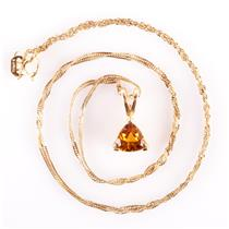 "14k Yellow Gold Trillion Cut Citrine Solitaire Pendant W/ 18"" Chain .75ct"