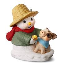 Hallmark Series Ornament 2017 Snow Buddies #20 - Snowman and Piglet - #QX9332