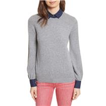 NEW L Joie Bahiti Woven Navy Polka Dot Trim Wool/Cashmere Sweater Heather Grey