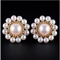 Vintage 1940's 14k Yellow Gold Cultured Freshwater Pearl Clip On Earrings 7.8g