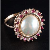 14k Yellow Gold Round Cut Cultured Mabe Pearl & Ruby & Diamond Halo Ring .54ctw
