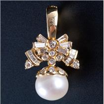 18k Yellow Gold Akoya Cultured Pearl & Diamond Enhancer / Pendant .87ctw