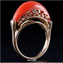 Vintage 1960's 14k Yellow Gold Fancy Cabochon Cut Coral Solitaire Cocktail Ring