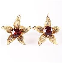 Vintage 1960's 10k Rose Gold Rose Cut Garnet Flower Clip On Earrings 1.0ctw