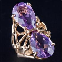 14k Yellow Gold Pear Cut Amethyst Two-Stone Cocktail Ring 10.4ctw