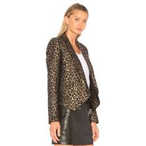 NEW Sz 8 Smythe Leopard Pattern Knit Anytime Single Button Closure Blazer