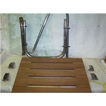 Boaters Resale Shop of TX 1807 0222.01 TEAK SWIM PLATFORM WITH ONE HANDRAIL