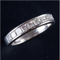 Platinum Princess Cut Channel Set Diamond Wedding / Anniversary Band .90ctw