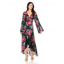 NWT L Show Me Your Mumu Anita Wrap Long Sleeve Dress in Ruby Bloom Satin Print