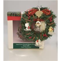 Hallmark 1990 Frosty Friends Memory Wreath with Miniature Ornaments Set XPRST-DB