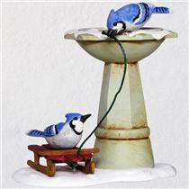 Hallmark Series Ornament 2018 Marjolein's Garden #5 - Bathing Blue Jays - QX9473