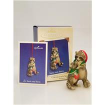 Hallmark Series Ornament 2003 Safe and Snug #3 - Porcelain Raccoons - #QX8217