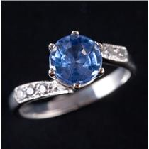 Vintage 1930's Platinum Sapphire Solitaire Engagement Ring W/ Diamonds 1.55ctw