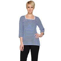 Quacker Factory Size 2X Royal Blue Nautical Stars & Stripes Square Neck T-shirt