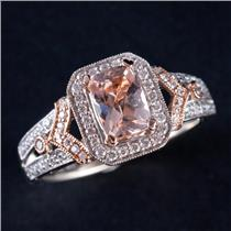 14k White / Rose Gold Morganite & Diamond Halo Style Engagement Ring 2.94ctw