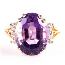 14k Yellow Gold Amethyst Solitaire Cocktail Ring W/ Diamond Accents 5.97ctw