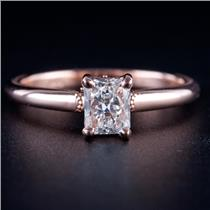 14k Rose Gold Radiant Cut Diamond Solitaire Engagement Ring W/ Accents .78ctw