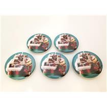LOT OF 5  2018 Hallmark Keepsake Ornament Santas Magic Train Button Pins LPR3613