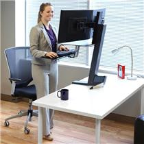 ErgoTron WorkFit-S Dual monitor workstation with WorkSurface Work Sit or Stand !