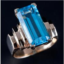 14k Yellow Gold Emerald Cut Swiss Blue Topaz Solitaire Cocktail Ring 11.70ct