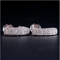 14k White Gold Round Cut Diamond Huggie Earrings W/ Butterfly Backs .44ctw