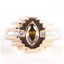 Men's 14k Yellow Gold Marquise Cut Brownish Green Diamond Cocktail Ring 1.22ctw