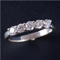 14k White Gold Round Brilliant Cut Diamond Wedding / Anniversary Ring .75ctw