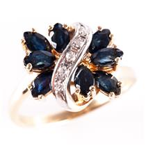 14k Yellow / White Gold Marquise Cut Sapphire Cluster Cocktail Ring 1.70ctw