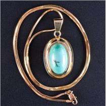 "14k Yellow Gold Oval Cabochon Cut Turquoise Solitaire Pendant W/ 20.5"" Chain"