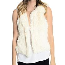 S Piko 1988 Ivory Faux Fur Open Front 100% Cotton Lined Vest W/ Hood Style 1627