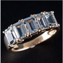14k Yellow Gold Emerald Cut Aquamarine Five Stone Cocktail Ring 2.50ctw