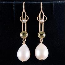 14k Yellow Gold Cultured Pearl / Seed Pearl & Peridot Dangle Earrings .60ctw